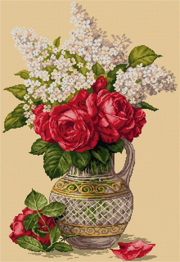 Ваза с рози и люляк 1:1